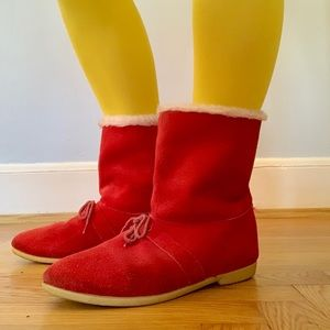 Vintage 70s red suede faux fur lined winter boots